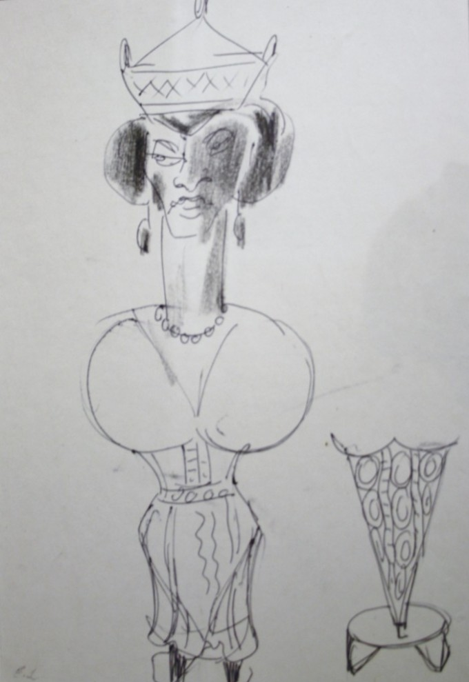 The Queen – Sketch from the chessmen series
