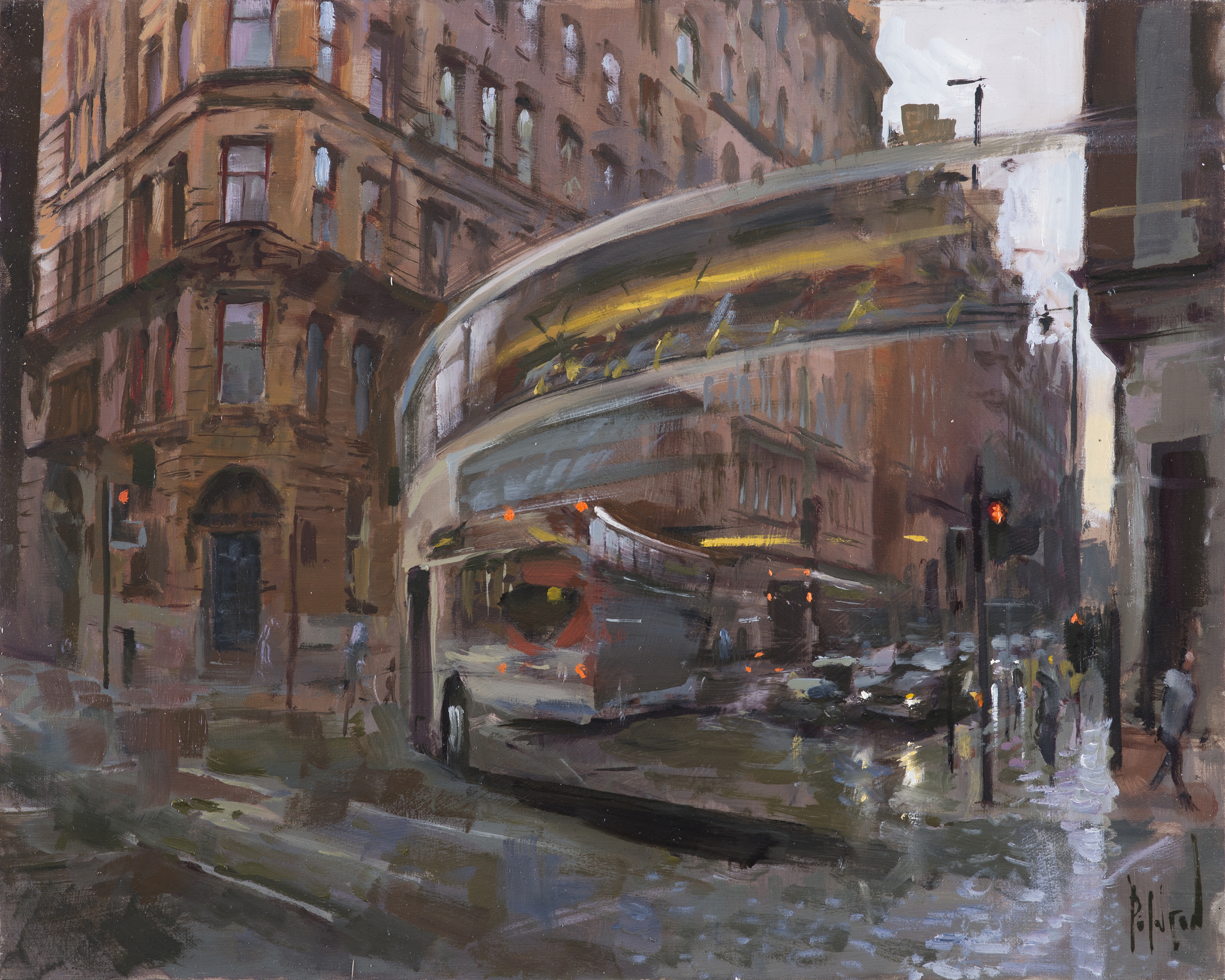 rob pointon Buses Turning, Whitworth Street Oil 20ins x 16ins 1550