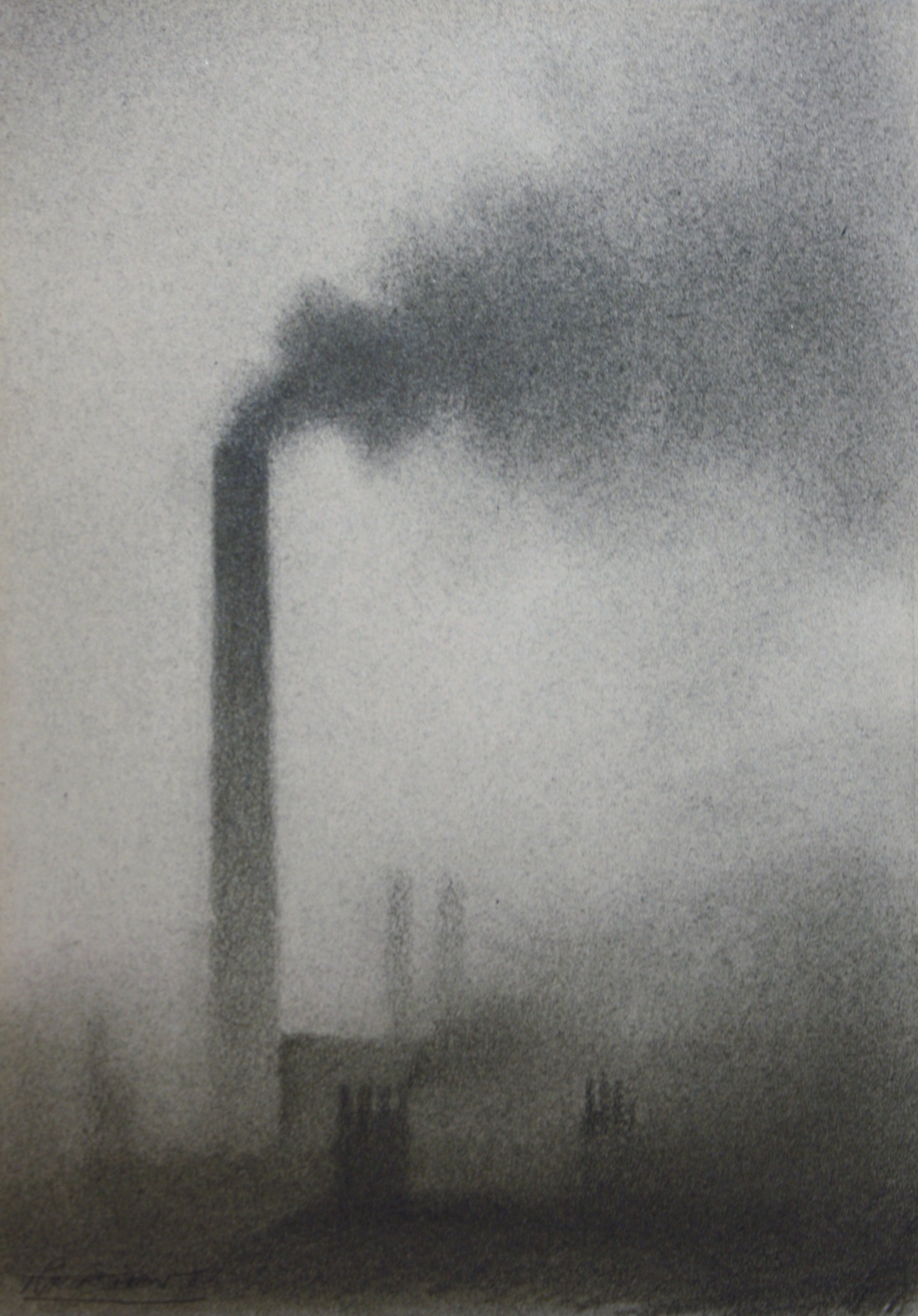 trevor grimshaw smoking chimney 7ins x 5ins pencil 1675