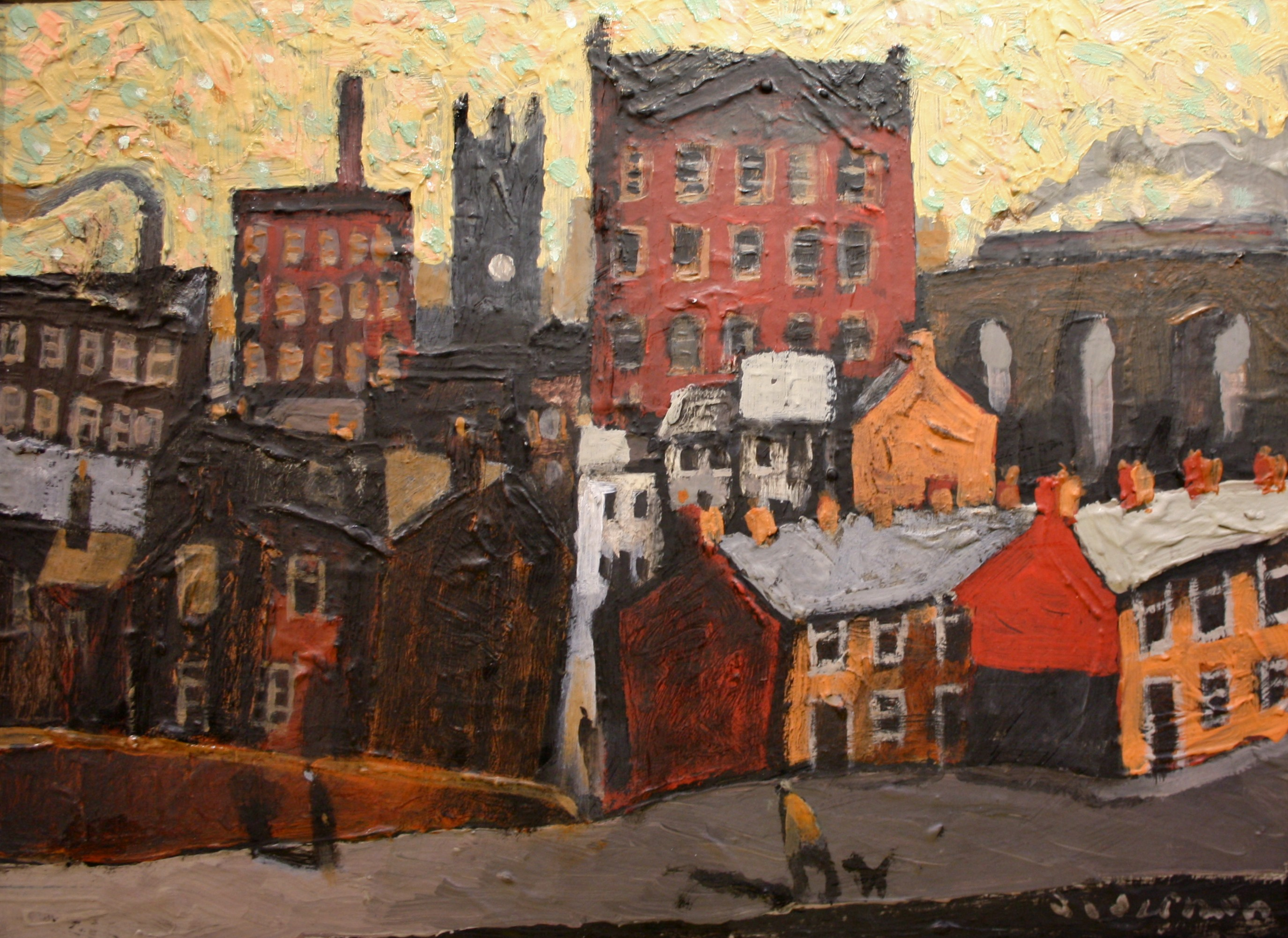 david alderman walking to town 12ins x 16ins oil 595