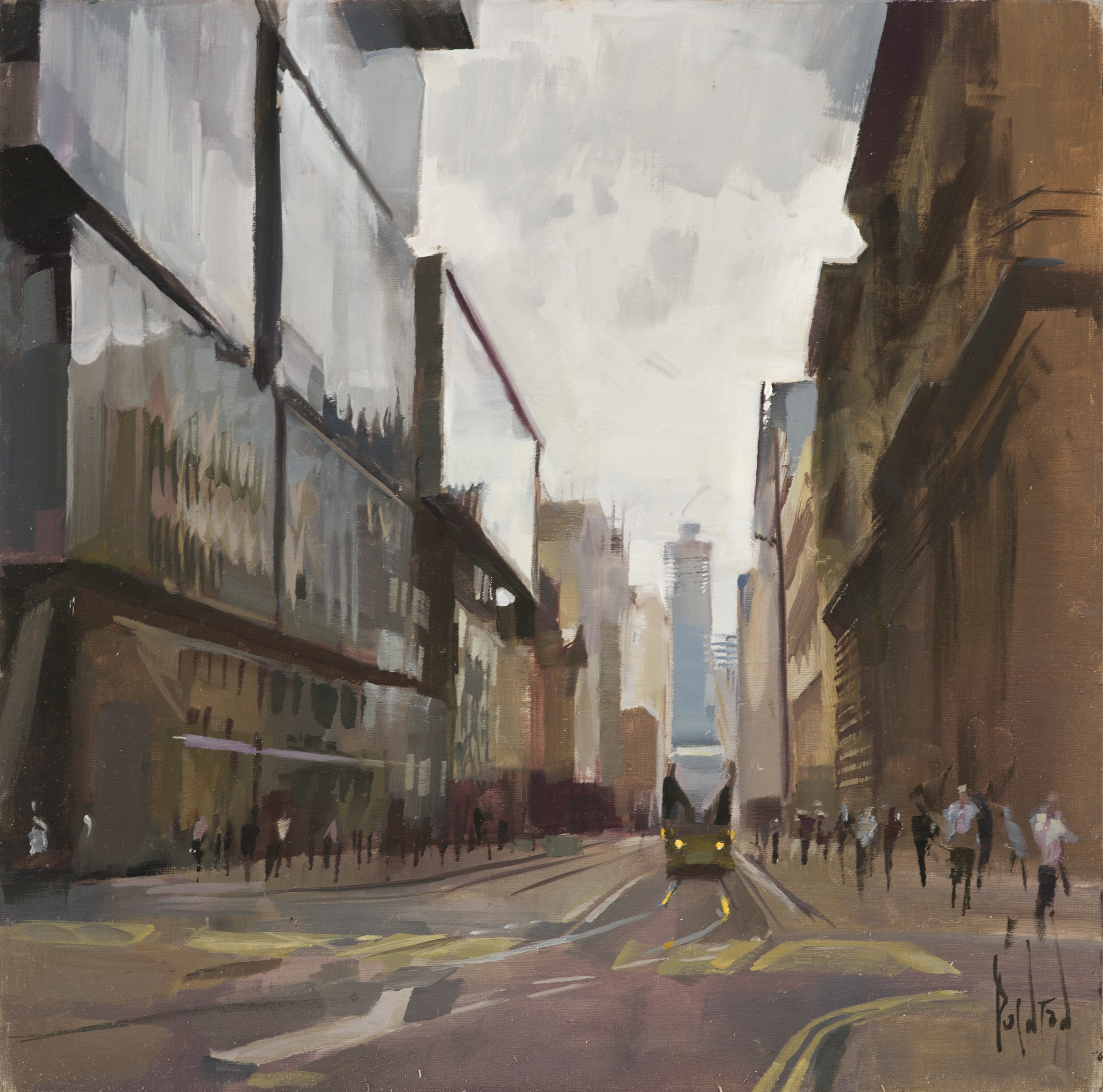 rob pointon Tram on Mosley St oil 16ins x 16ins 1400