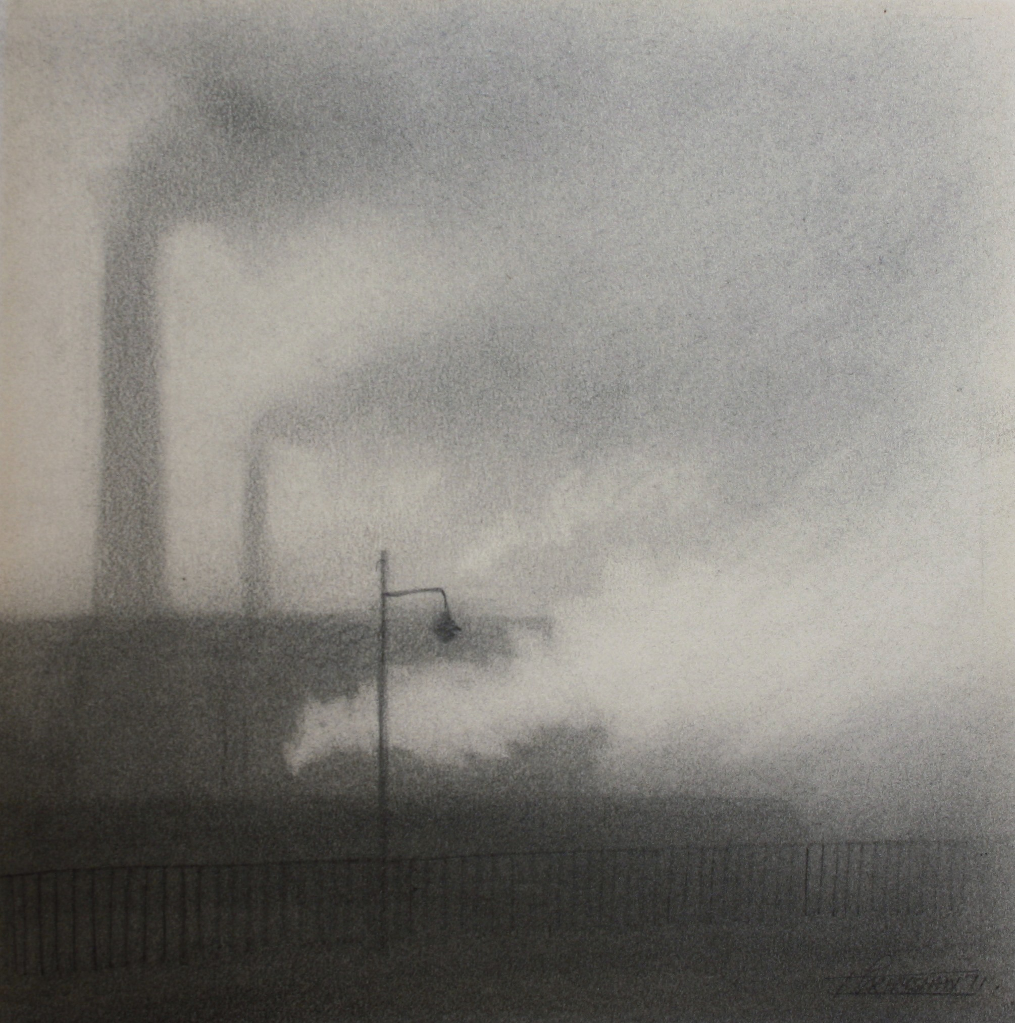 trevor grimshaw pencil smoke & steam 6.5ins x 6ins 1675