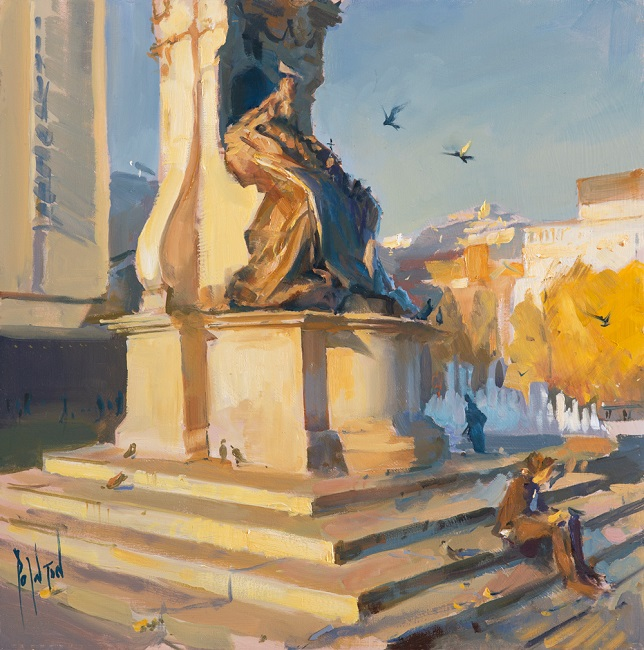 12-18-Morning-Sun-on-Queen-Victoria,-40cm-x-40cm,-1400