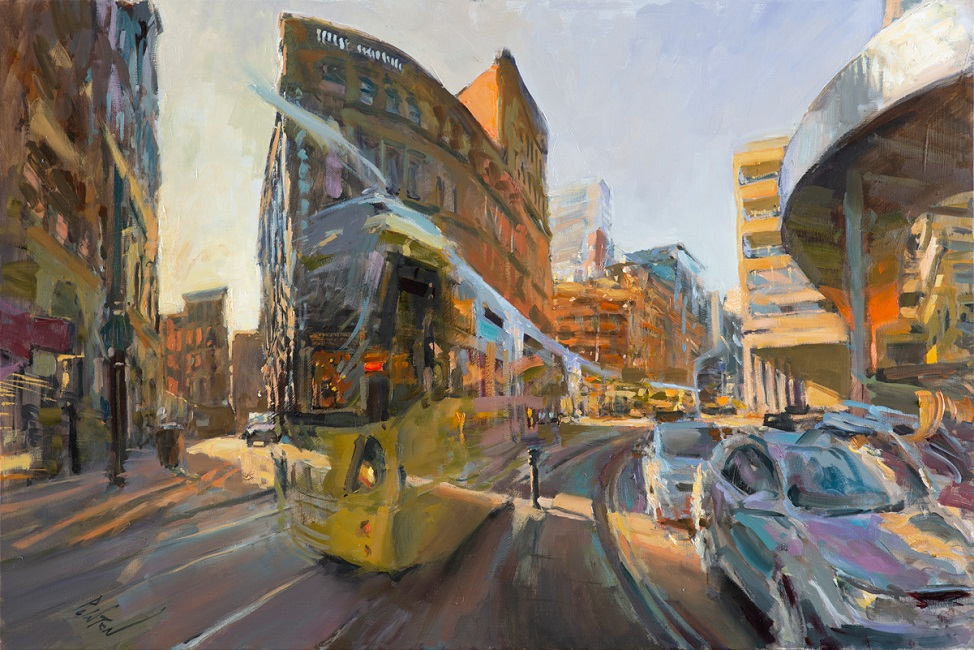"""10-19-Curving-past-the-Arndale,-Oil-on-Linen,-24""""x36"""",-2600"""