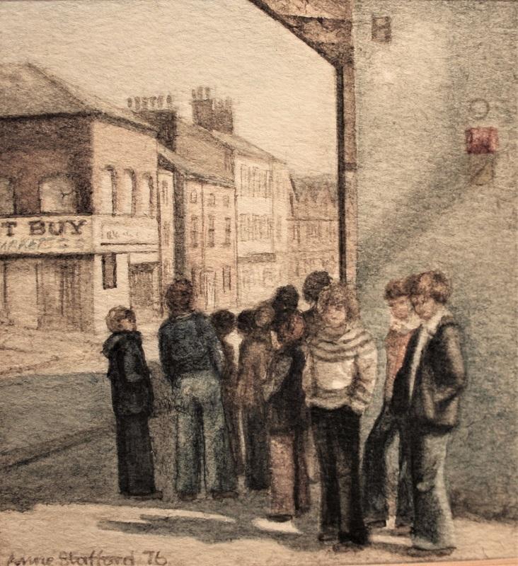 Anne Stafford Kids on the Corner 1976 watcol 5insx4ins £225