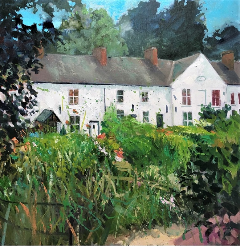 Carl Longmate Miners Cottages Oil 20ins x 20ins £695
