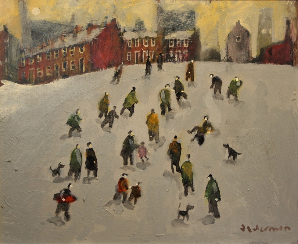 David Alderman Fun on the Slopes 10ins x 12 Oil £595