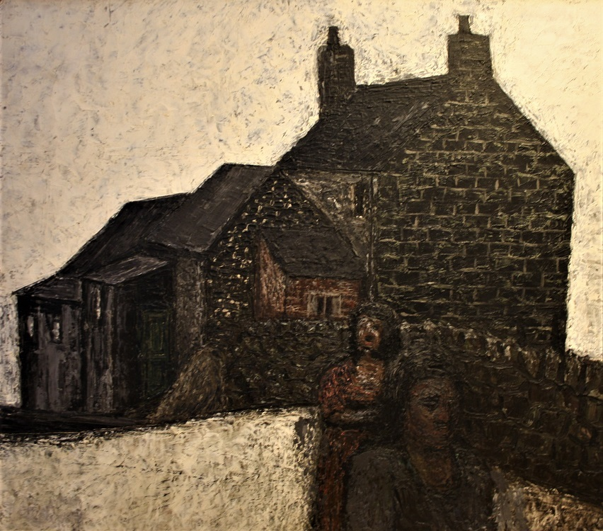 Jack Simmcock Farm Buildings and Figures 1956 Oil 21ins x 24ins £3995