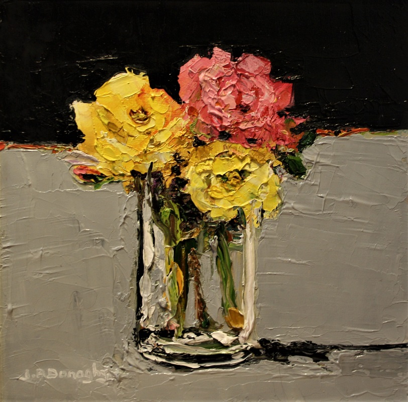 Judith Donaghy Pink And Yellow Roses Oil 8ins x 8ins £225
