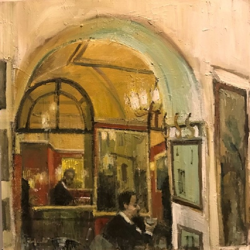Lucy Madfredi Gusto Cafe II Oil 24ins X 24ins £950