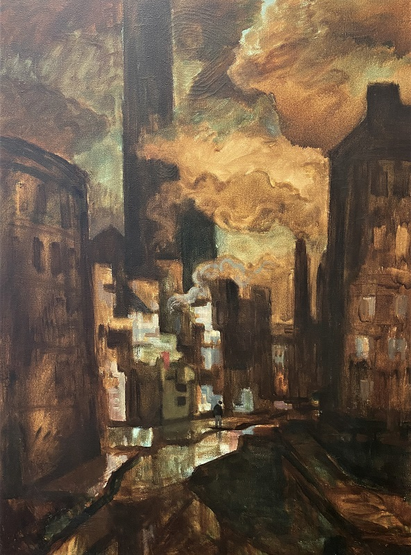 Norman Jaques Along the Canal Oil 41ins x 30ins £995