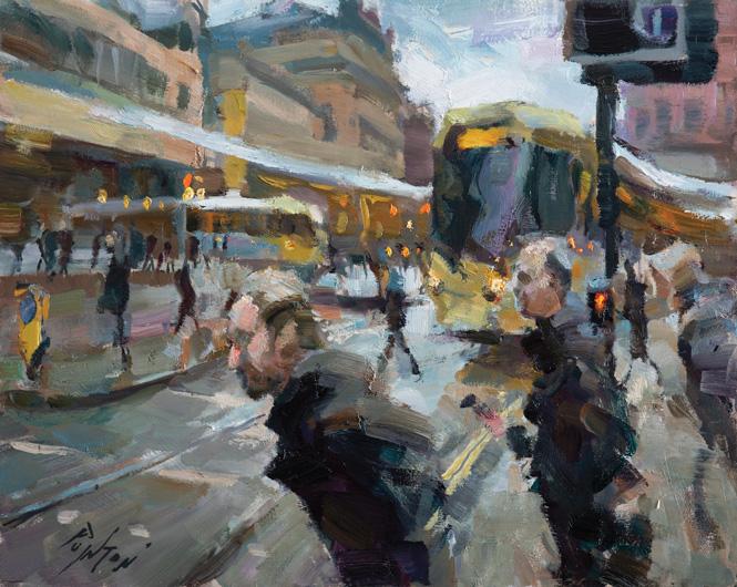 Rob Pointon Crossing Princess Street Oil 40insx50ins £1550