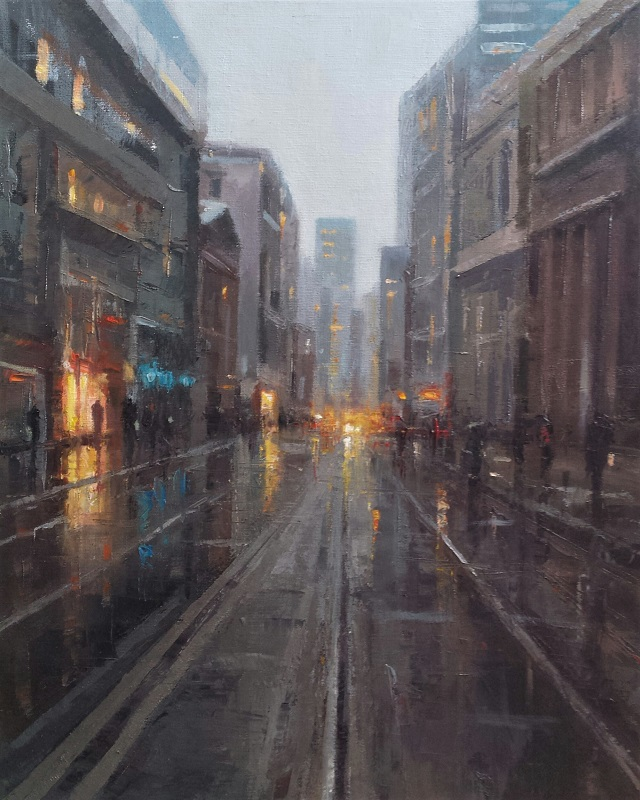 Steven Bewsher Early Evening Mosley Street Oil 20ins x 16ins £850