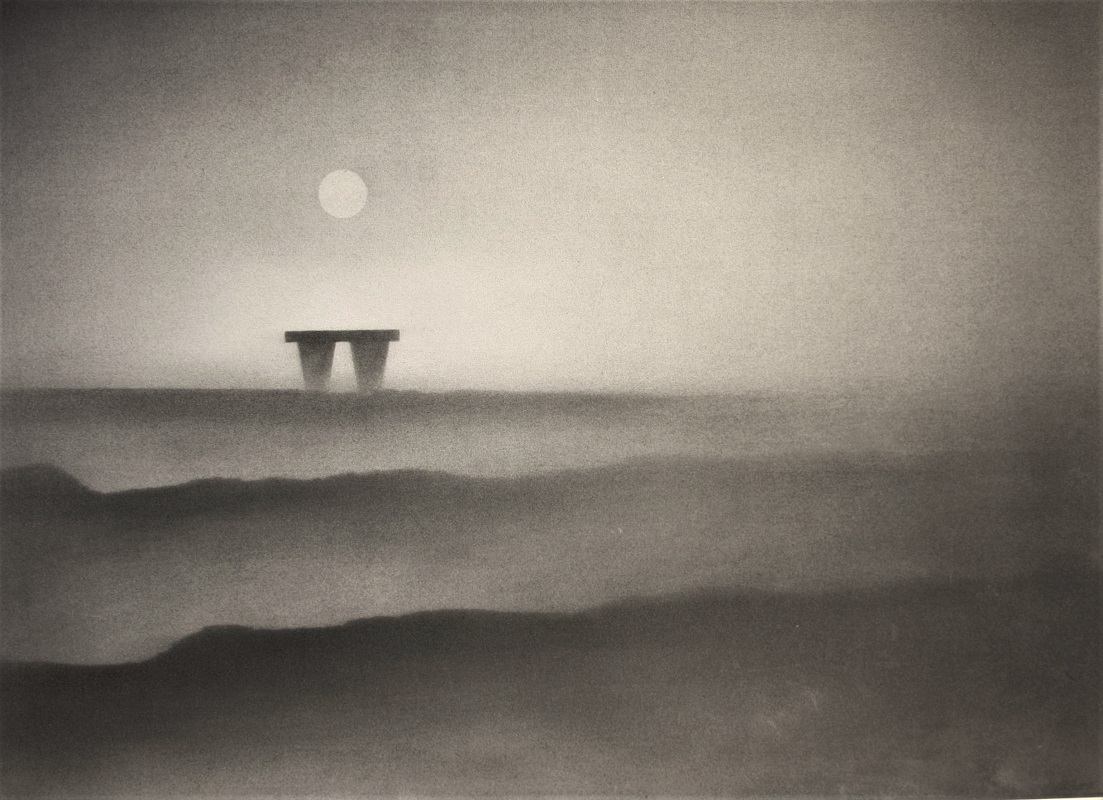 Trevor Grimshaw Moon and Monolith pencil and graphite 20insx28ins £5500