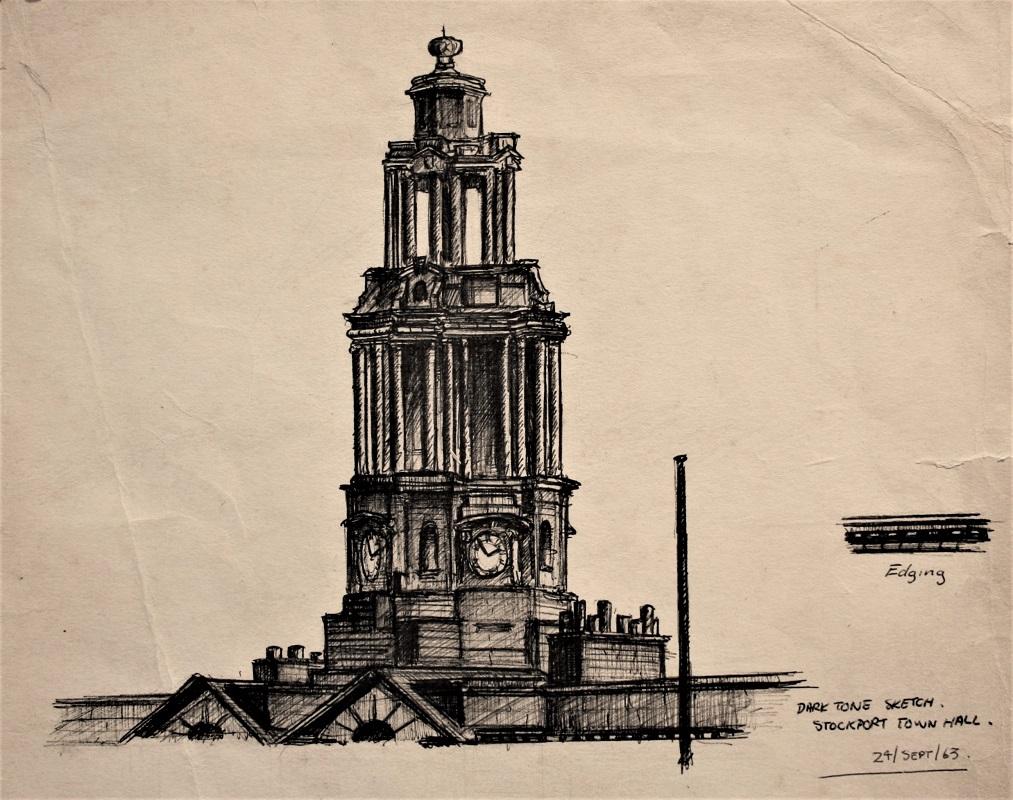 Trevor Grimshaw Stockport Townhall 1963 ink 7insx9ins £595